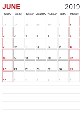 Monthly planner calendar June 2019, week starts on Sunday, desk calendar template, vector illustration