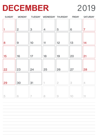 Monthly planner calendar December 2019, week starts on Sunday, desk calendar template, vector illustration