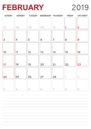 English calendar - February 2019