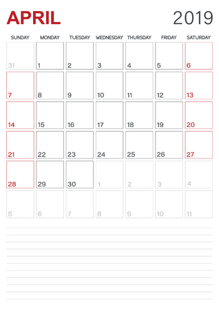Monthly planner calendar April 2019, week starts on Sunday, desk calendar template, vector illustration