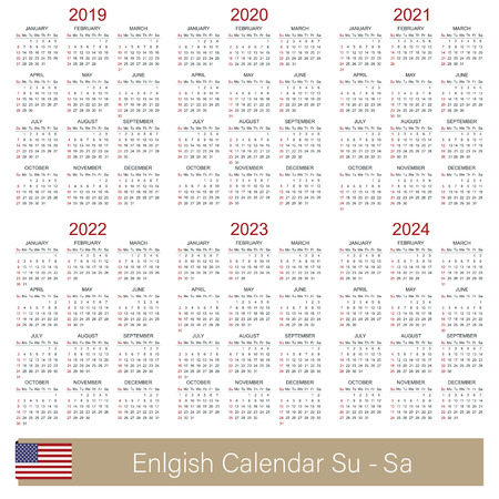 English calendar 2019 - 2024, week starts on Sunday, simple calendar template for 2019, 2020, 2021, 2022, 2023 and 2024, printable calendar templates, vector illustration