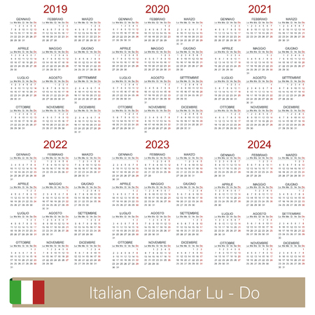 Italian calendar 2019 - 2024, week starts on Monday, simple calendar template for 2019, 2020, 2021, 2022, 2023 and 2024, printable calendar templates, vector illustration Ilustrace