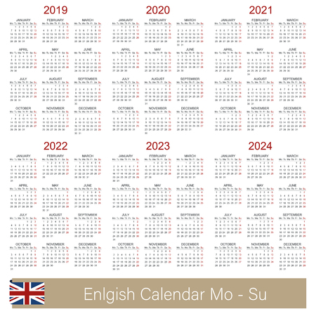English calendar 2019 - 2024, week starts on Monday, simple calendar template for 2019, 2020, 2021, 2022, 2023 and 2024, printable calendar templates, vector illustration