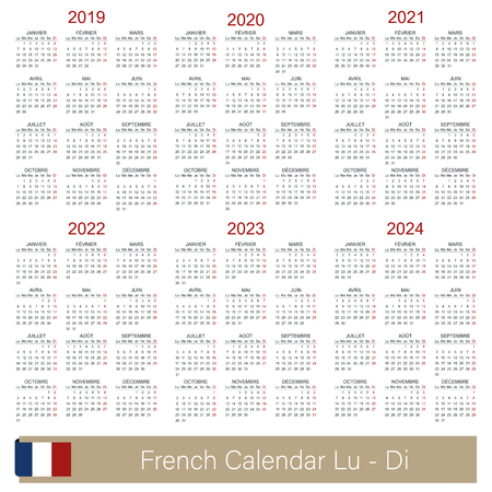 French calendar 2019 - 2024, week calendar begins on Monday, simple calendar template for 2019, 2020, 2021, 2022, 2023 and 2024, printable calendar templates, vector illustration