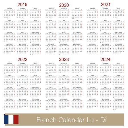 Calendrier français 2019-2024, calendrier de la semaine commence le lundi, modèle de calendrier simple pour 2019, 2020, 2021, 2022, 2023 et 2024, modèles de calendrier imprimables, illustration vectorielle Vecteurs