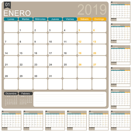 Spanish calendar template for year 2019, set of 12 months, week starts on Monday, printable calendar templates