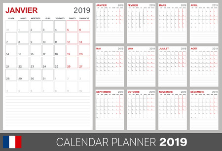 French calendar 2019, French calendar planner 2019, week of Monday, set of 12 months January - December, calendar template size A4, simple design on white background, calendar desk template template, vector illustration Ilustrace