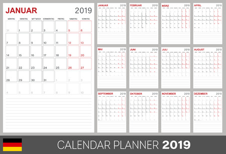 German calendar 2019, German calendar planner 2019, week of Monday, set of 12 months January - December, calendar template size A4, simple design on white background, set calendar calendar template, vector illustration