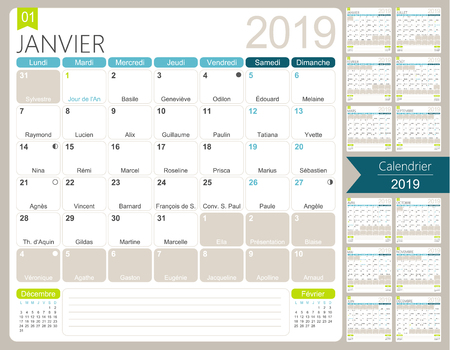 French calendar 2019 Calendar 2019, set of 12 months January - December, French printable monthly calendar template, including name days, lunar phases and official holidays, vector illustration