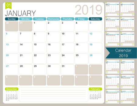 English calendar for year 2019, week starts on Sunday, set of 12 months January - December, simple design on white background, vector illustration