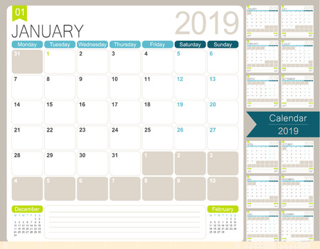 English calendar for year 2019, week starts on Monday, set of 12 months January - December, simple design on white background, vector illustration