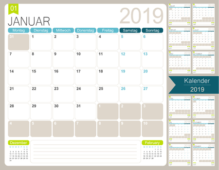 German calendar for year 2019, week starts on Monday, set of 12 months January - December, simple design on white background, vector illustration