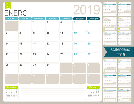 Spanish calendar for year 2019, week starts on Monday, set of 12 months January - December, simple design on white background, vector illustration