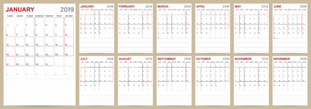 English calendar template for year 2019, set of 12 months January - December, week starts on Sunday, printable planning calendar size A4, vector illustration