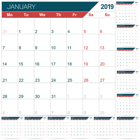 English calendar template for year 2019, set of 12 months January - December, week starts on Monday, printable calendar planner, vector illustration