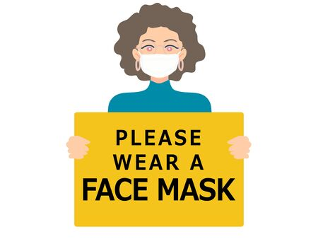 Wearing face mask required sign. Woman wear medical face mask. Yellow attention sign.
