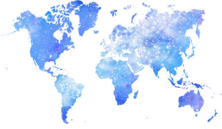 galaxy blue colored world map with on white background. World map template with continents, North and South America, Europe and Asia, Africa and Australia