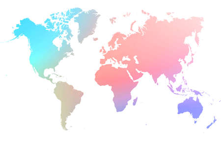 gradient rainbow colored world map with on white background. World map template with continents, North and South America, Europe and Asia, Africa and Australia