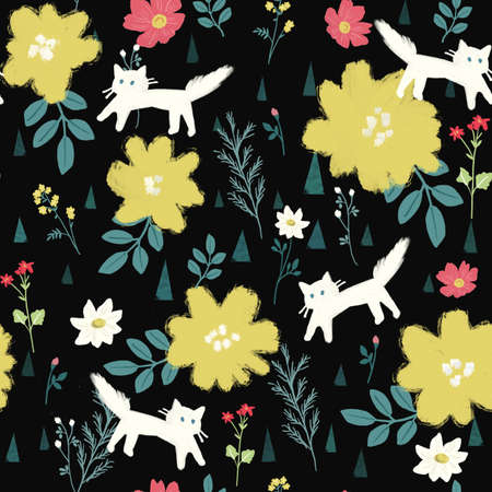 seamless pattern with white cats and flower garden