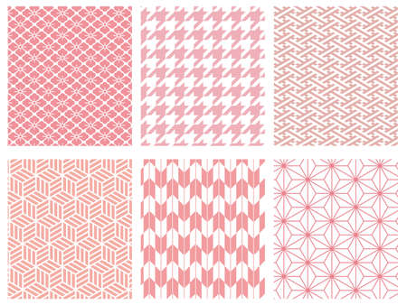 pink colored traditional Japanese pattern set