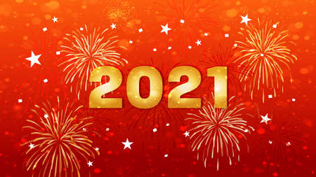 Happy New Year 2021 Celebration Text with Festive Fireworks Collage in red background