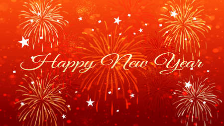 Happy New Year Celebration Text with Festive Fireworks Collage in red background