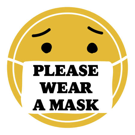 round yellow face says please wear a mask, icon vector sign Illustration