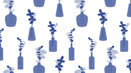 blue glass vase with flowers in it pattern vector background