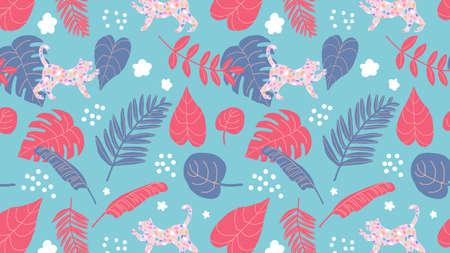 tropical botanical pattern with terrazzo jaguar