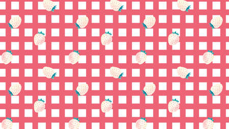 white strawberries on gingham checked pattern, vector background