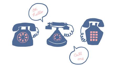 flat illustration of old telephone on white background.