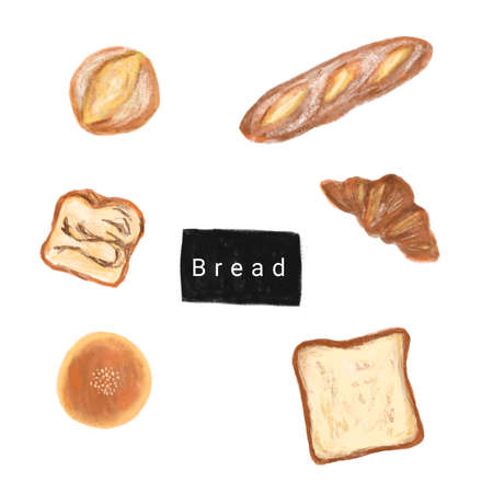 Bakery set hand drawn illustration. Bread, baguette, croissant. Front view detailed illustrations Banque d'images