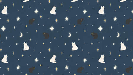 stars and cat pattern background. Decorative abstract  illustration.