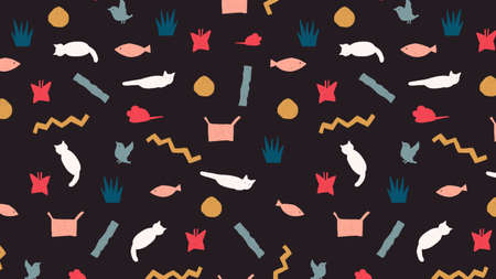 Cute cat pattern background. Decorative abstract colorful illustration.
