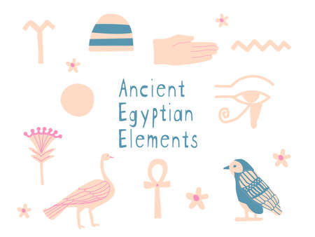 Vector elements set of cultural symbols of ancient Egyptian symbols on white background