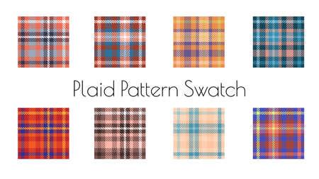 classic tartan plaid seamless pattern vector set Illustration