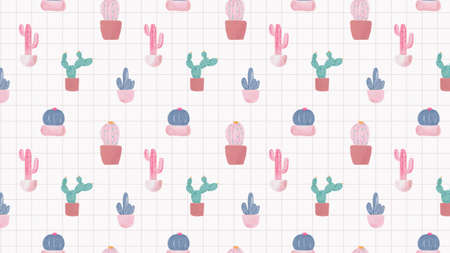 Watercolor cactus illustration pattern background