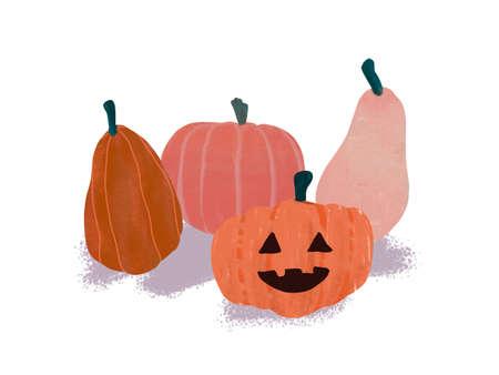 hand-drawn illustration of  pumpkins Banque d'images