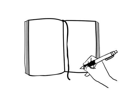 vector illustration of writing in a notebook Illustration