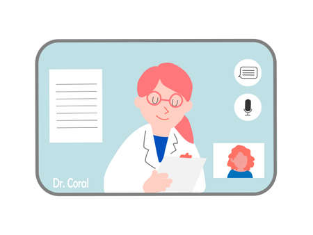 Online consultation with a doctor on monitor, social distancing, coronavirus prevention