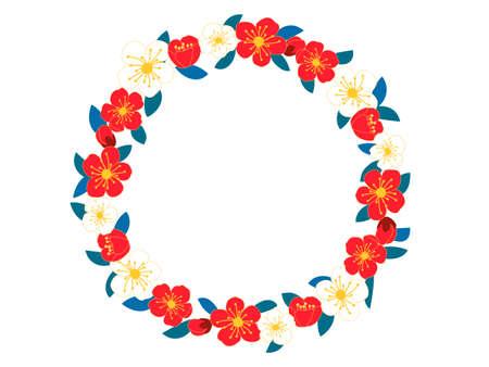 Vintage border wreath with blossom plum flowers