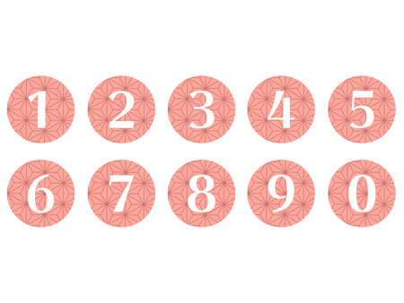 Collection of isolated round number icons for 0 - 9