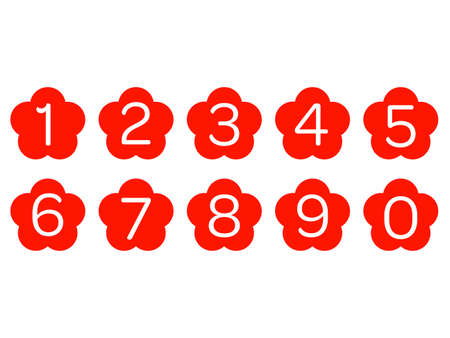 Collection of isolated flower shaped number icons for 0 - 9 Illustration