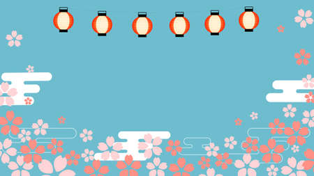 Japanese festival paper lanterns with pink sakura cherry blossom flower