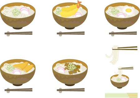Various Japanese udon illustration sets