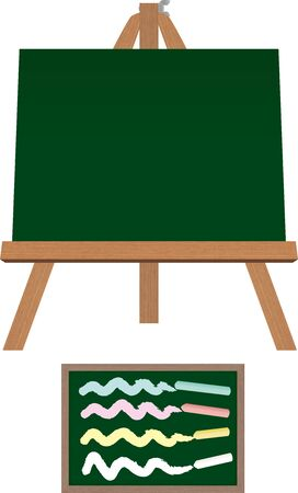 Empty black board easel isolated.vector illustration. Çizim