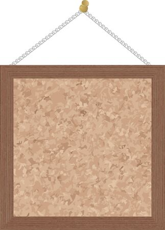 Square cork board with wooden frame isolated.vector illustration.