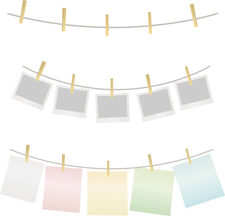 Wooden clips on three ropes with photos or memos. Illustration