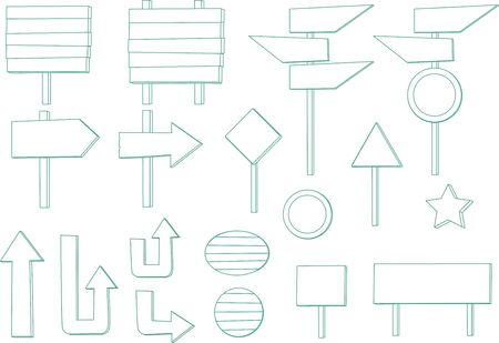 Vector illustration of various wooden signboard and signposts.