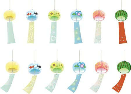 Wind chimes set with various patterns.
